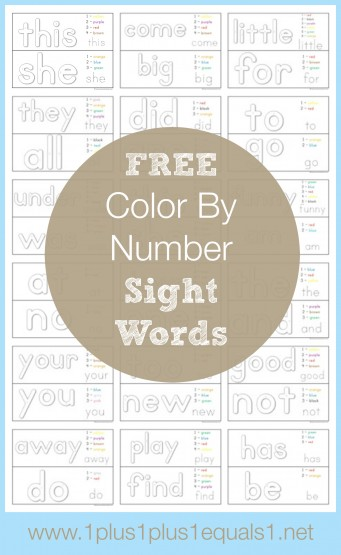 Free Color By Number Sight Word Printables