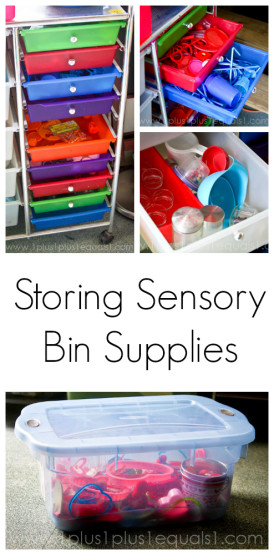 Storing and Organizing Sensory Bin Supplies