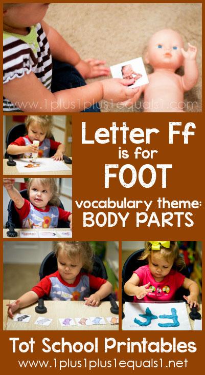 Tot School Printables F is for Foot