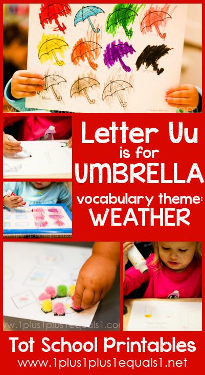 Tot School Printables U is for Umbrella