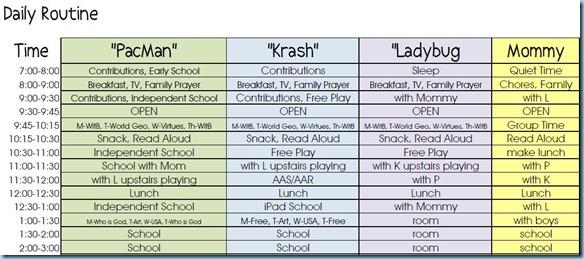 Homeschool Routine 2012