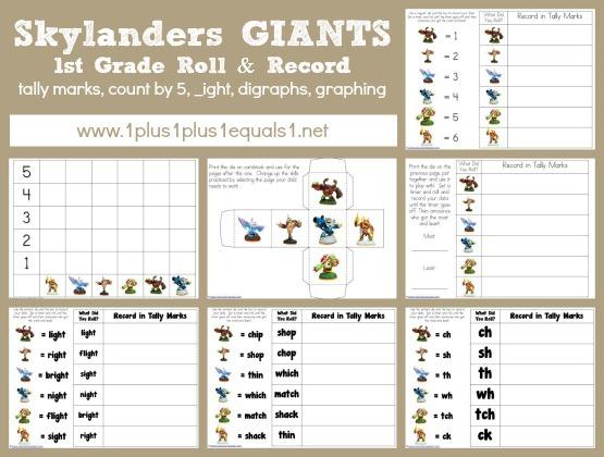 Skylanders Giants 1st Grade Printables 1111