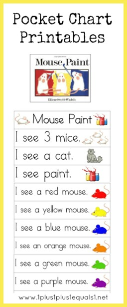 Mouse Paint Pocket Chart Printables