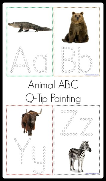 Animal ABC Q-Tip Painting