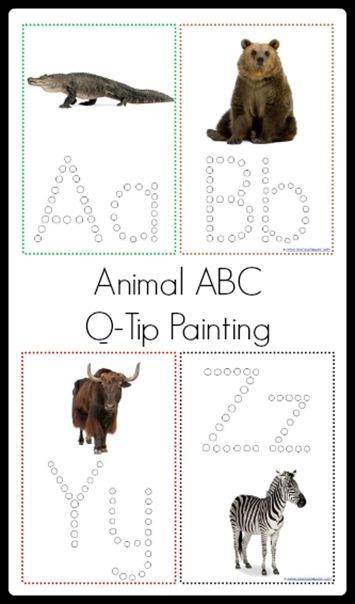Animal ABC Q-Tip Painting