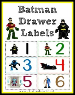 Batman Work Drawer Labels