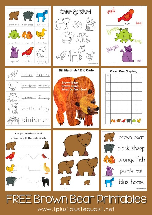 Brown Bear, Brown Bear Printables ~ Updated! - 1+1+1=1