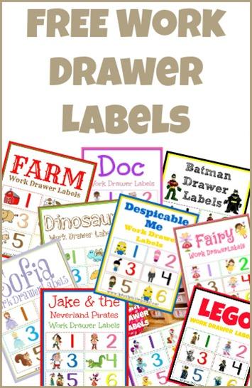 Work Drawer Labels