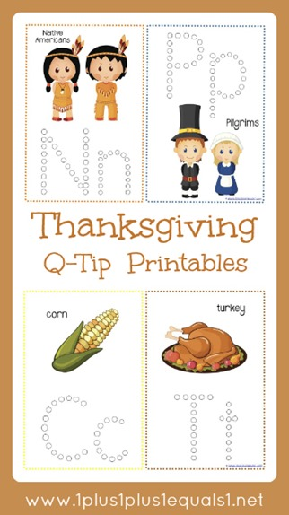 Thanksgiving Q Tip Printables