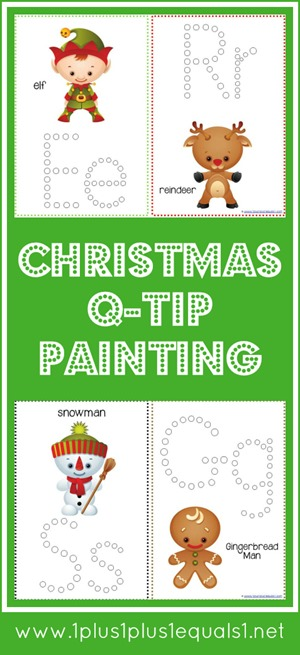 graphic relating to Q Tip Painting Printable titled Xmas Pleasurable Q-Idea Portray Printables - 1+1+1\u003d1