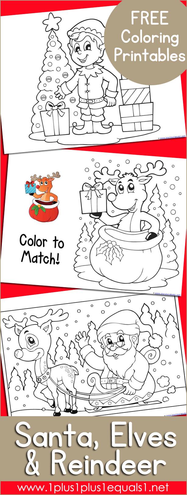 Santa, Elves, and Reindeer Christmas Coloring
