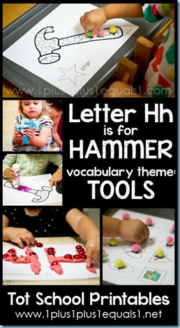 Tot School Printables H is for Hammer