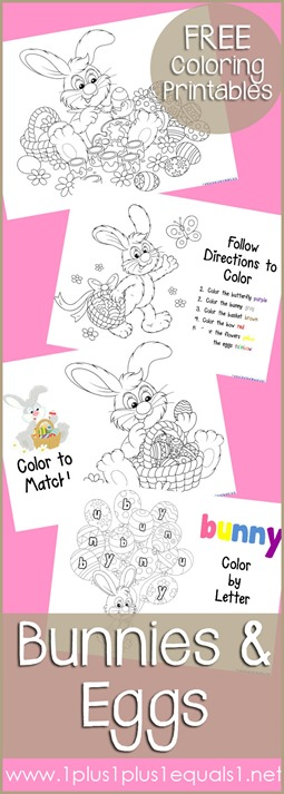 Just Color Bunnies and Eggs