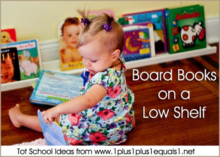 Tot School Board Books on a Low Shelf 12-18 Months
