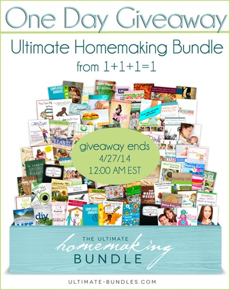 One Day Giveaway from www.1plus1plus1equals1.net Ultimate Homemaking Bundle ends 4.28