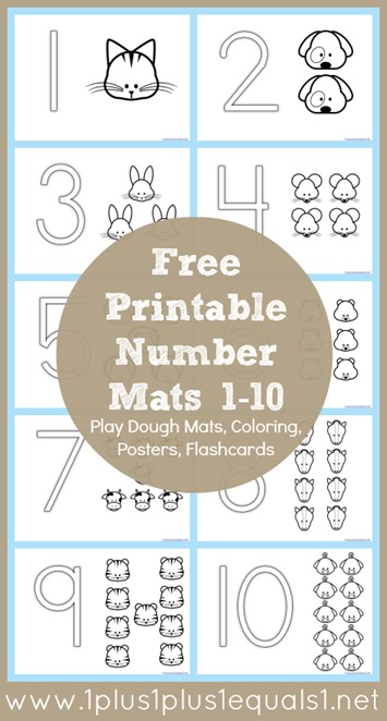 Free Number Coloring Printables 1-10