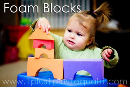 Tot School Ideas 18-24 Months -- Foam Blocks