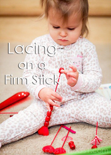 Tot School Ideas 18-24 Months -- Lacing on a Firm Stick from www.1plus1plus1equals1