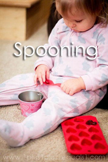 Tot School Ideas 18-24 Months -- Spooning from www.1plus1plus1equals1