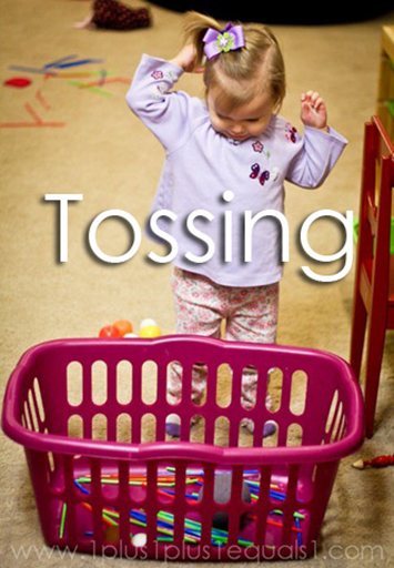 Tot School Ideas 18-24 Months -- Tossing from www.1plus1plus1equals1