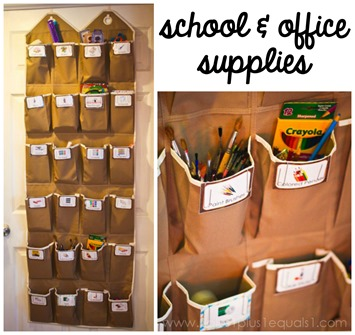 organizing school and office supplies in an over the door shoe hanger