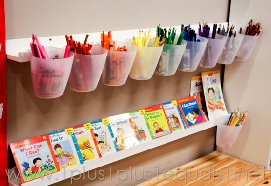 Sort crayons by color