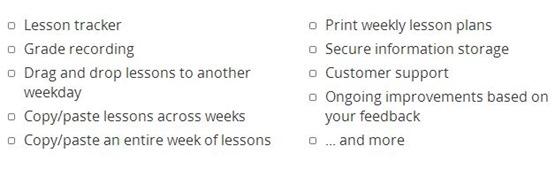 Lessontrek Current Features