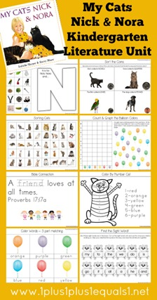My Cats Nick and Nora Kindergarten Literature Unit Study Printables