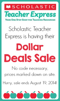 Scholastic Teacher Express Dollar Deals Fall 2014 Sale ends Aug. 19, 2014