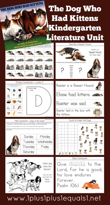 The Dog Who Had Kittens Kindergarten Literature Unit Printables