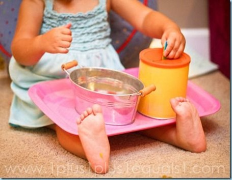 Tot Tray ~ Droping Chips into a Container