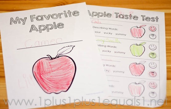 Apple Tasting Worksheet: apple taste test with printables 1111,