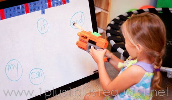 Shoot Sight Words with Nerf Gun!