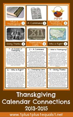 Thanksgiving Calendar Connections 2013 through 2015