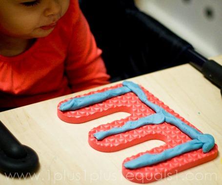Play Dough on Foam Letters