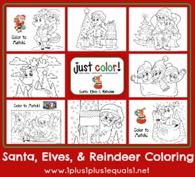 Just Color ~ Christmas...Santa Elves and Reindeer