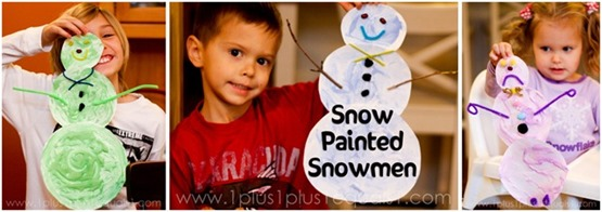 Snow-Painted-Snowmen-Craft