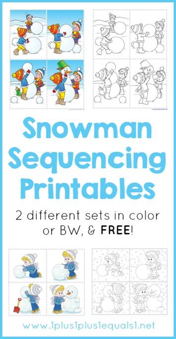 snowman sequencing printables 1 1 1 1. Black Bedroom Furniture Sets. Home Design Ideas