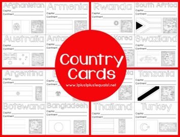 World Geography Country Printable Cards