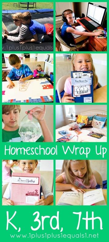 Monthly Homeschool Wrap Up April 2015 Kindergarten, 3rd Grade, 7th Grade