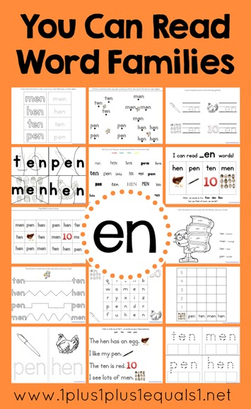en word family printables