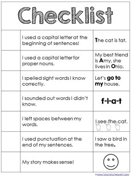 Basic Writing Checklist Printable