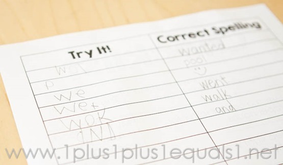 Try-It Spelling Printable