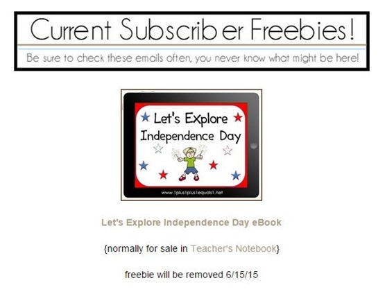 Subscriber Freebie Independence Day eBook