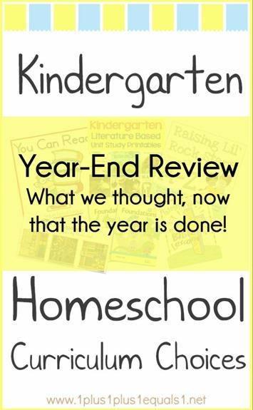 Kindergarten Homeschool Curriculum Choices Year-End Review