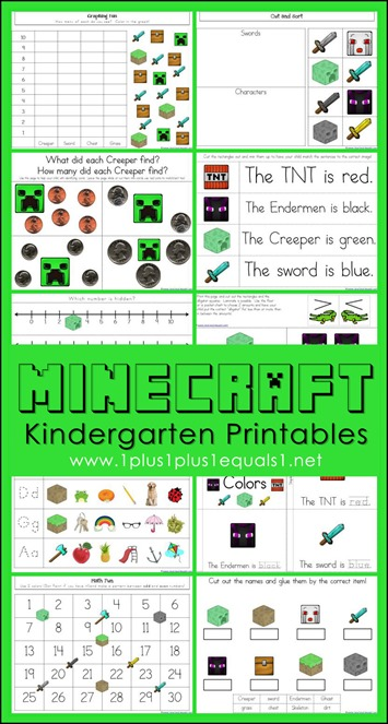 Minecraft Kindergarten Printables