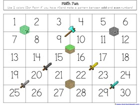 Minecraft Kindergarten Printables 1 1 1 1