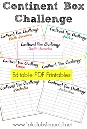 Continent Box Challenge Editable Printables