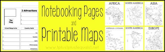 Geography Notebooking Pages and Printables Maps