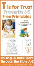 Proverbs 3 verse 5 T is for Trust Free Printables